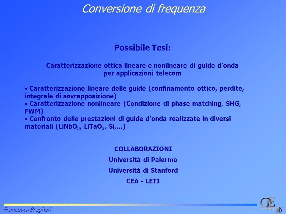 Francesca Bragheri Possibile Tesi: Caratterizzazione ottica lineare e nonlineare di guide d'onda per applicazioni telecom Caratterizzazione lineare delle guide (confinamento ottico, perdite, integrale di sovrapposizione) Caratterizzazione nonlineare (Condizione di phase matching, SHG, FWM) Confronto delle prestazioni di guide d'onda realizzate in diversi materiali (LiNbO 3, LiTaO 3, Si,...) Conversione di frequenza COLLABORAZIONI Università di Palermo Università di Stanford CEA - LETI