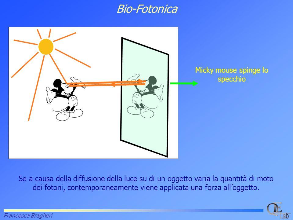 Francesca Bragheri Bio-Fotonica Se a causa della diffusione della luce su di un oggetto varia la quantità di moto dei fotoni, contemporaneamente viene applicata una forza all'oggetto.