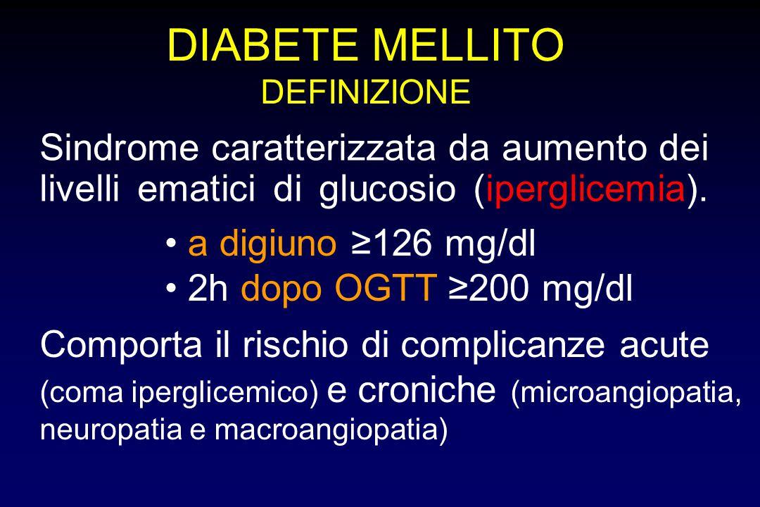 DIABETE MELLITO DEFINIZIONE Sindrome caratterizzata da aumento dei livelli ematici di glucosio (iperglicemia). Comporta il rischio di complicanze acut