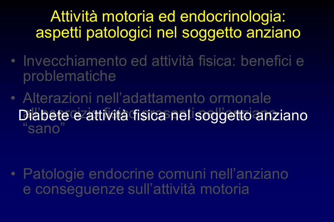 Attività motoria ed endocrinologia: aspetti patologici nel soggetto anziano Alterazioni nell'adattamento ormonale all'esercizio fisico presenti nell'a