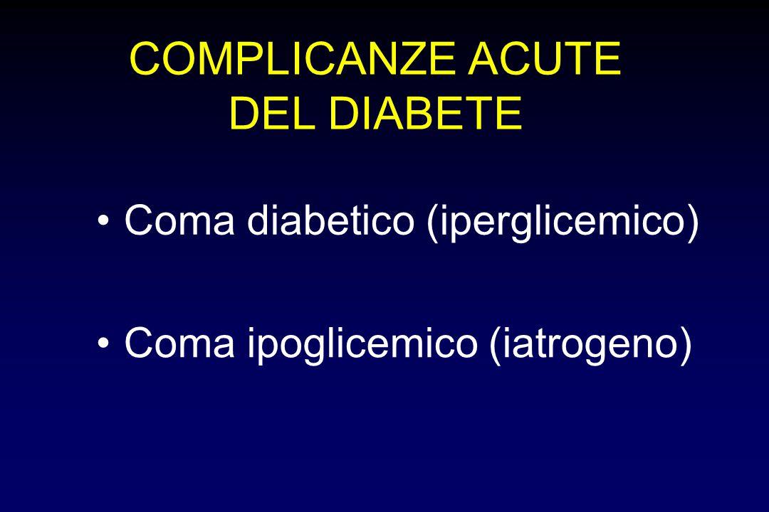 COMPLICANZE ACUTE DEL DIABETE Coma diabetico (iperglicemico) Coma ipoglicemico (iatrogeno)