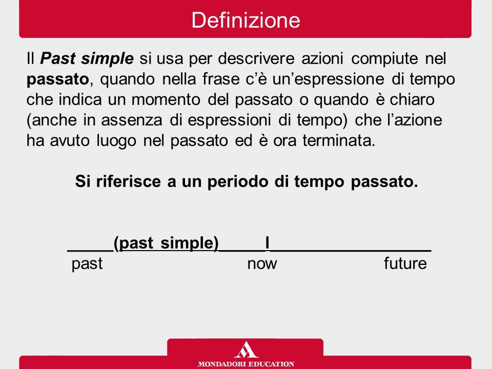 Il Past simple si usa per descrivere azioni compiute nel passato, quando nella frase c'è un'espressione di tempo che indica un momento del passato o q