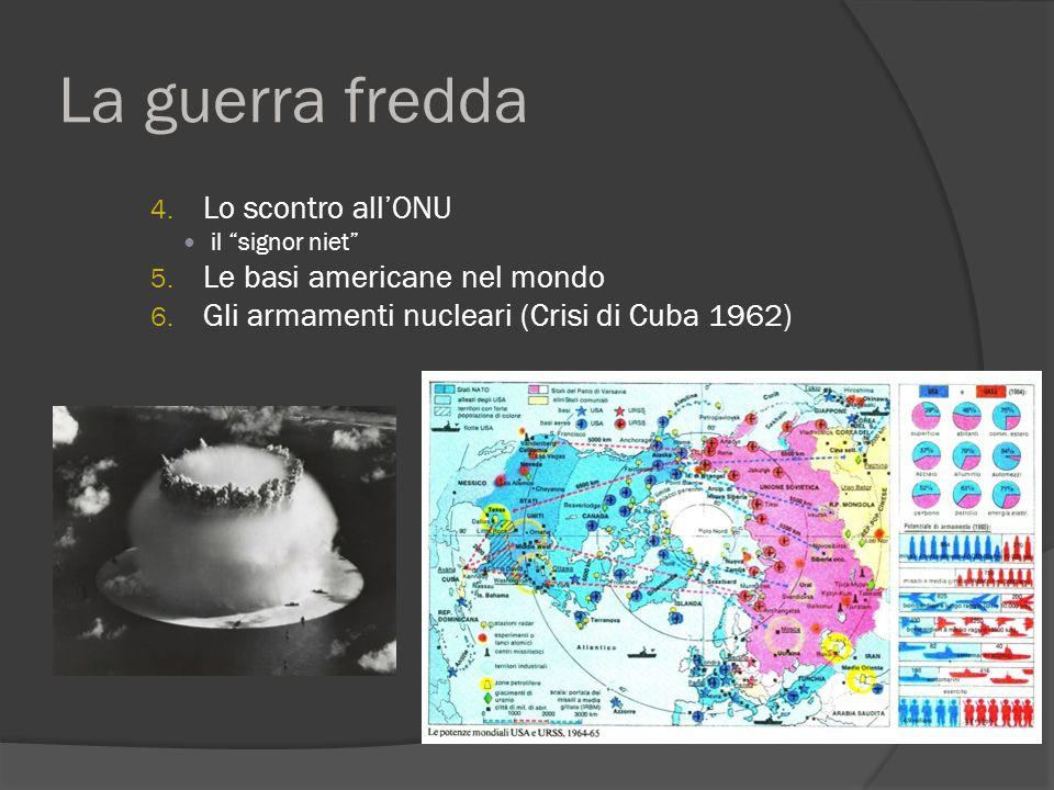 """La guerra fredda 4. Lo scontro all'ONU il """"signor niet"""" 5. Le basi americane nel mondo 6. Gli armamenti nucleari (Crisi di Cuba 1962)"""