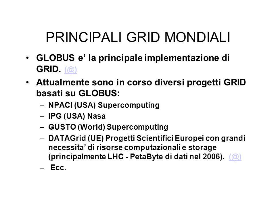 PRINCIPALI GRID MONDIALI GLOBUS e' la principale implementazione di GRID.