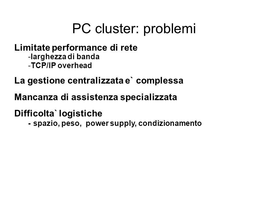 PC cluster: problemi Limitate performance di rete -larghezza di banda -TCP/IP overhead La gestione centralizzata e` complessa Mancanza di assistenza specializzata Difficolta` logistiche - spazio, peso, power supply, condizionamento