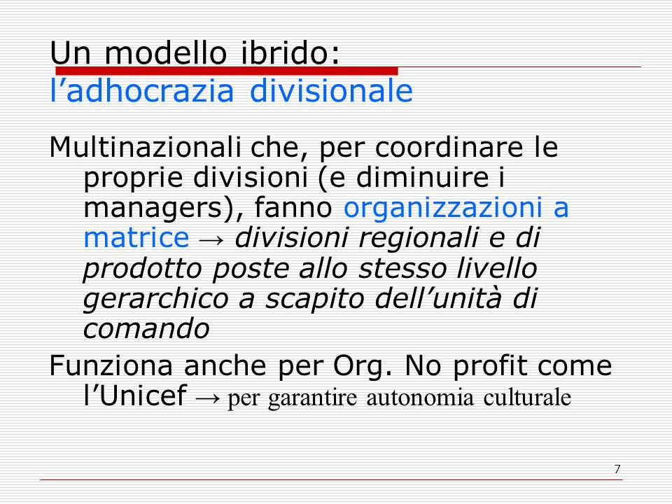 7 Un modello ibrido: l'adhocrazia divisionale Multinazionali che, per coordinare le proprie divisioni (e diminuire i managers), fanno organizzazioni a matrice → divisioni regionali e di prodotto poste allo stesso livello gerarchico a scapito dell'unità di comando Funziona anche per Org.