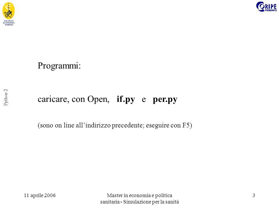 11 aprile 2006Master in economia e politica sanitaria - Simulazione per la sanità 3 Python 2 Programmi: caricare, con Open, if.py e per.py (sono on li