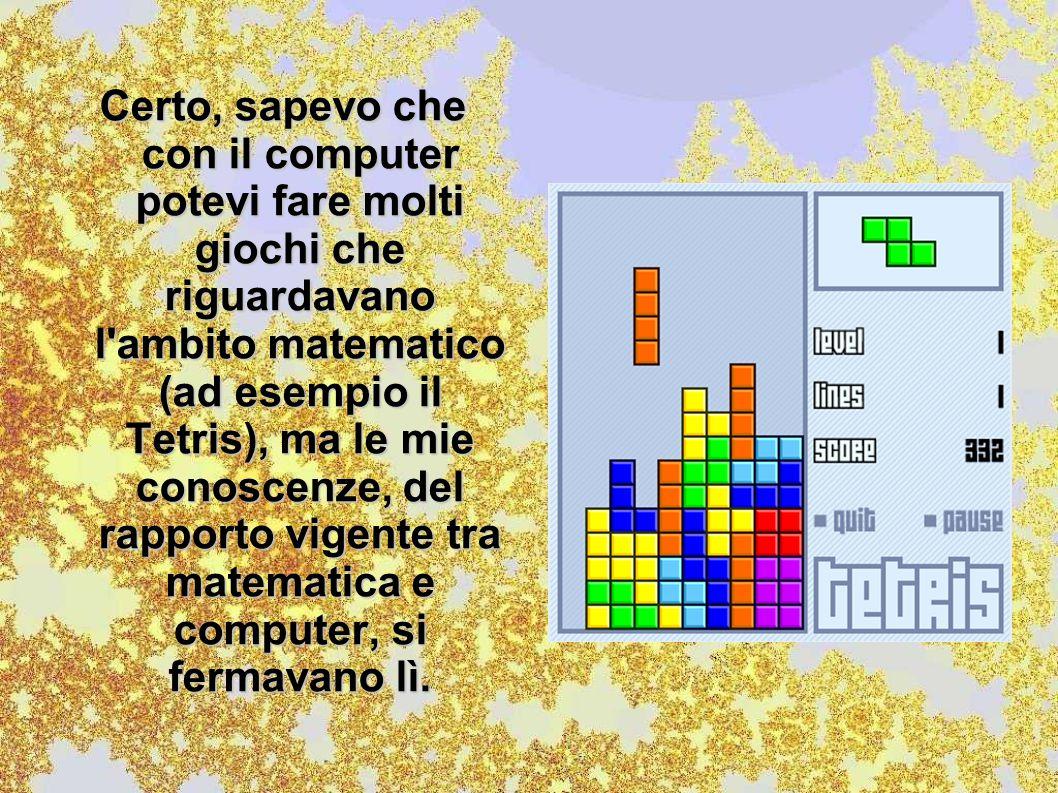 Certo, sapevo che con il computer potevi fare molti giochi che riguardavano l'ambito matematico (ad esempio il Tetris), ma le mie conoscenze, del rapp