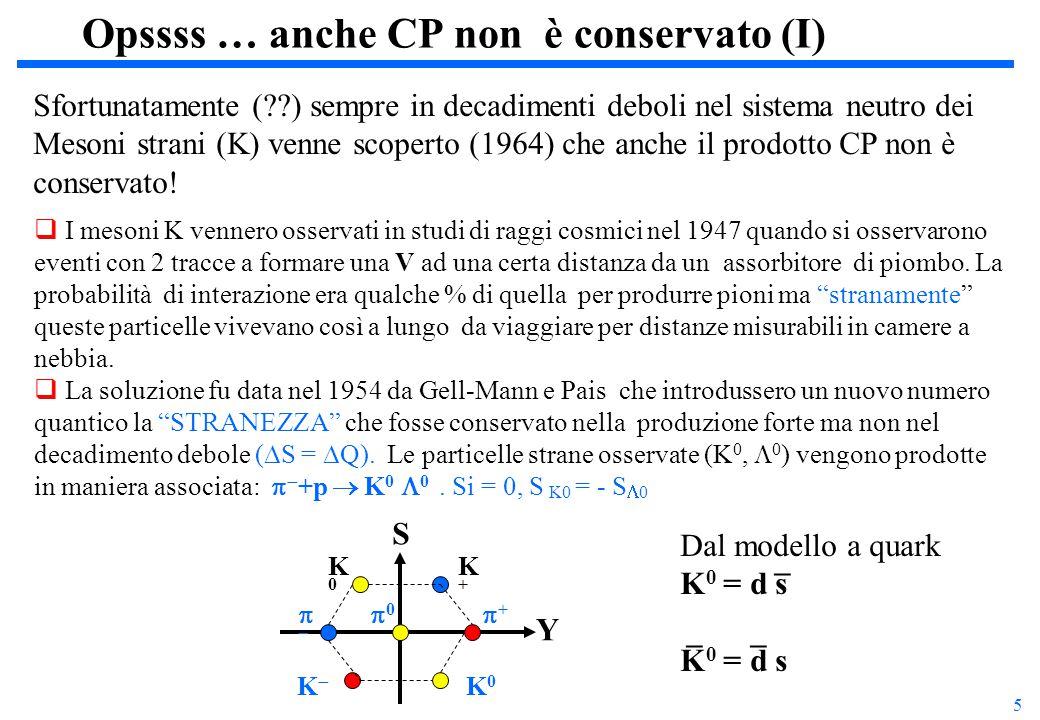 6 Opssss … anche CP non è conservato (II) I Kaoni neutri, K o, K o sono particella ed antiparticella e sono distinguibili solo in quanto hanno il numero quantico stranezza opposto.