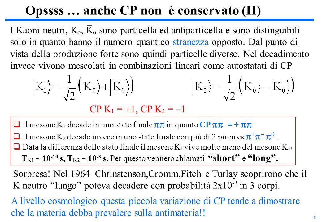 27    Secondo il modello a quark:  0 = (uu  dd)/  2  = cos  P (uu+dd)/  2 + sin  P ss  =  sin  P (uu+dd)/  2 + cos  P ss cotg 2  P  (  '  ) K  '  (   ) K  R == 3 La misura del rapporto delle frazioni di decadimento permette di misurare questo angolo di mixing