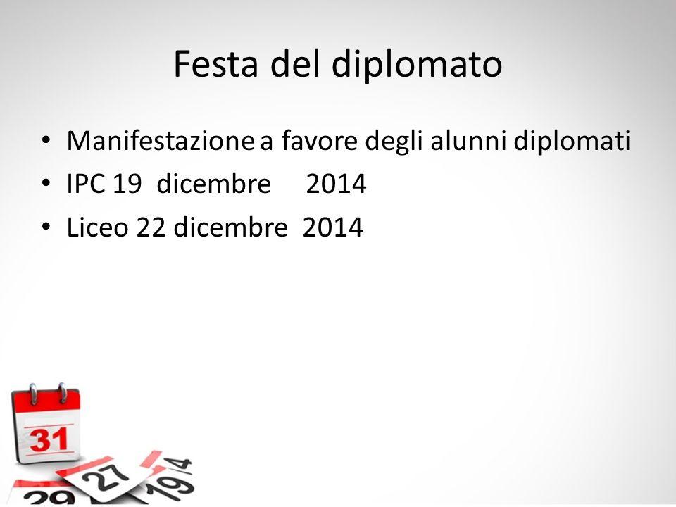 Festa del diplomato Manifestazione a favore degli alunni diplomati IPC 19 dicembre 2014 Liceo 22 dicembre 2014