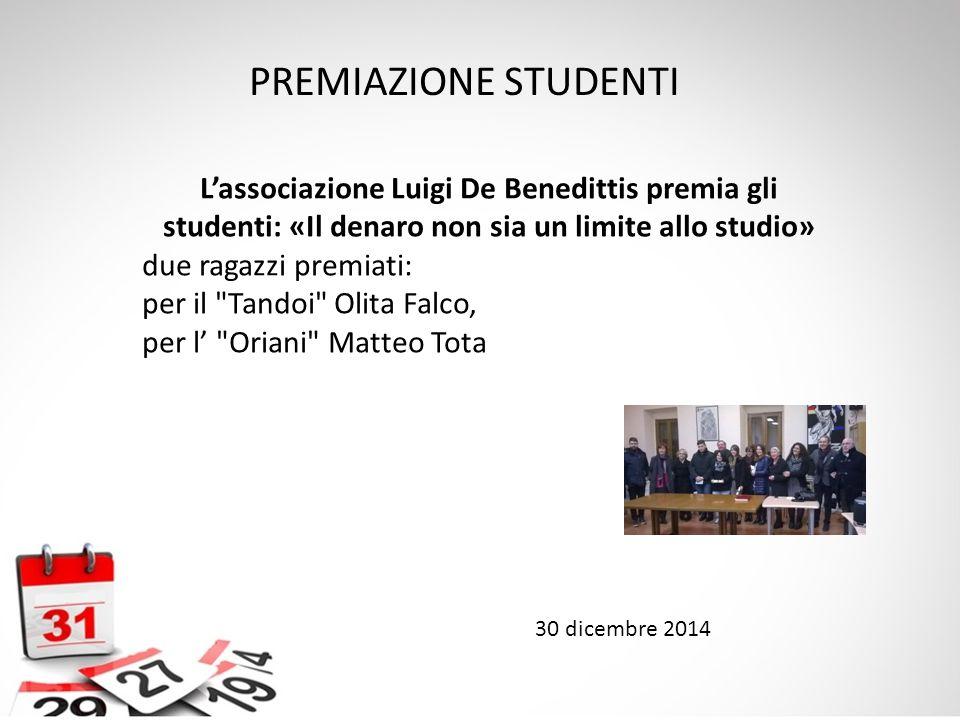 L'associazione Luigi De Benedittis premia gli studenti: «Il denaro non sia un limite allo studio» due ragazzi premiati: per il