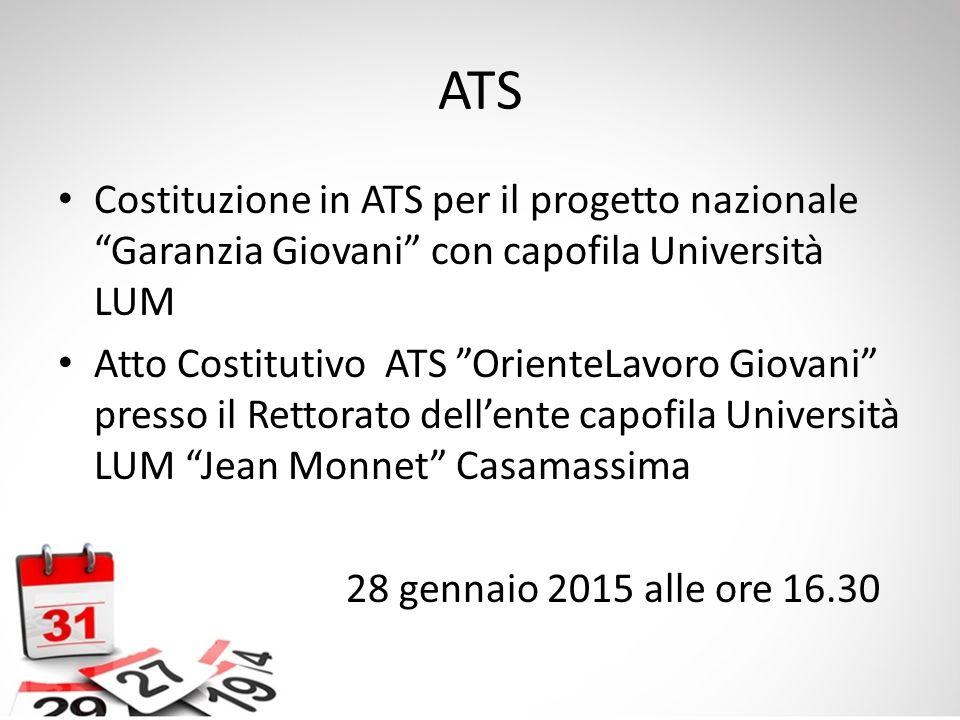 """ATS Costituzione in ATS per il progetto nazionale """"Garanzia Giovani"""" con capofila Università LUM Atto Costitutivo ATS """"OrienteLavoro Giovani"""" presso i"""