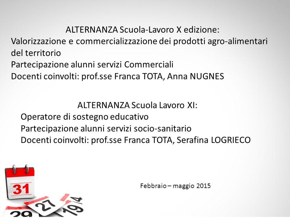 Febbraio – maggio 2015 ALTERNANZA Scuola-Lavoro X edizione: Valorizzazione e commercializzazione dei prodotti agro-alimentari del territorio Partecipa