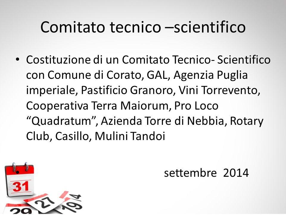 Comitato tecnico –scientifico Costituzione di un Comitato Tecnico- Scientifico con Comune di Corato, GAL, Agenzia Puglia imperiale, Pastificio Granoro