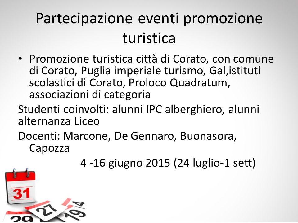 Partecipazione eventi promozione turistica Promozione turistica città di Corato, con comune di Corato, Puglia imperiale turismo, Gal,istituti scolasti