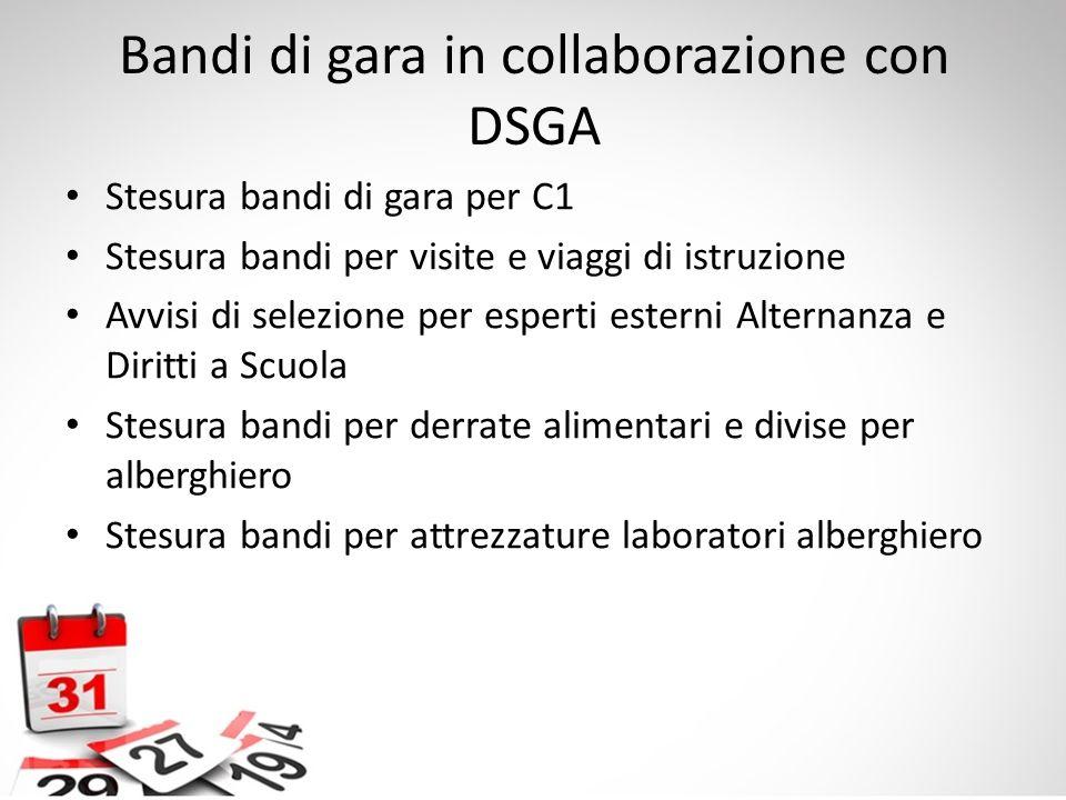 Bandi di gara in collaborazione con DSGA Stesura bandi di gara per C1 Stesura bandi per visite e viaggi di istruzione Avvisi di selezione per esperti
