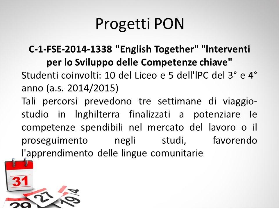 Progetti PON C-1-FSE-2014-1338