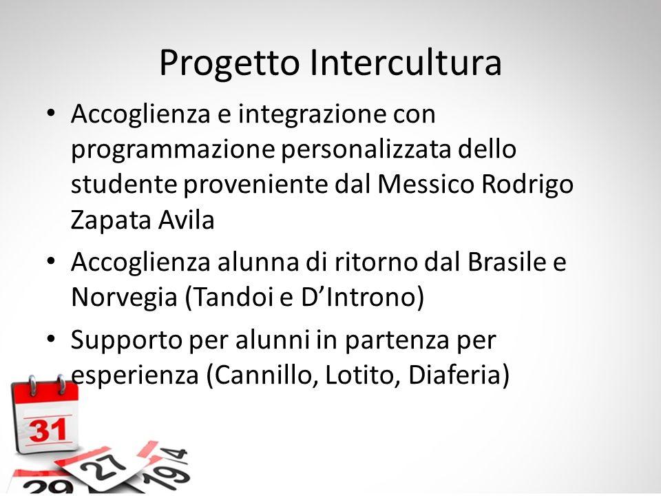 Progetto Intercultura Accoglienza e integrazione con programmazione personalizzata dello studente proveniente dal Messico Rodrigo Zapata Avila Accogli