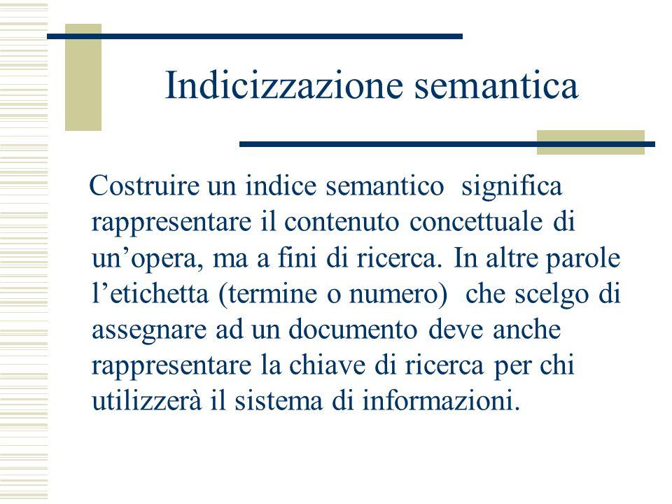 Indicizzazione semantica Costruire un indice semantico significa rappresentare il contenuto concettuale di un'opera, ma a fini di ricerca. In altre pa
