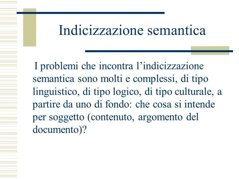 Indicizzazione semantica I problemi che incontra l'indicizzazione semantica sono molti e complessi, di tipo linguistico, di tipo logico, di tipo culturale, a partire da uno di fondo: che cosa si intende per soggetto (contenuto, argomento del documento)