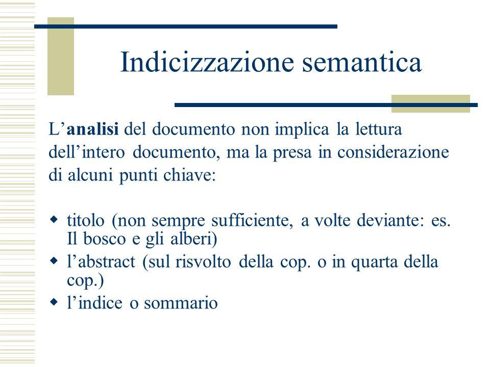 Indicizzazione semantica L'analisi del documento non implica la lettura dell'intero documento, ma la presa in considerazione di alcuni punti chiave:  titolo (non sempre sufficiente, a volte deviante: es.