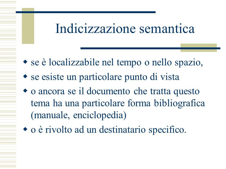 Indicizzazione semantica  se è localizzabile nel tempo o nello spazio,  se esiste un particolare punto di vista  o ancora se il documento che tratta questo tema ha una particolare forma bibliografica (manuale, enciclopedia)  o è rivolto ad un destinatario specifico.