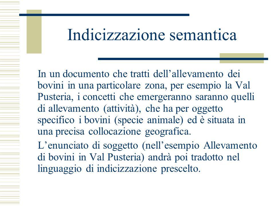 Indicizzazione semantica In un documento che tratti dell'allevamento dei bovini in una particolare zona, per esempio la Val Pusteria, i concetti che e