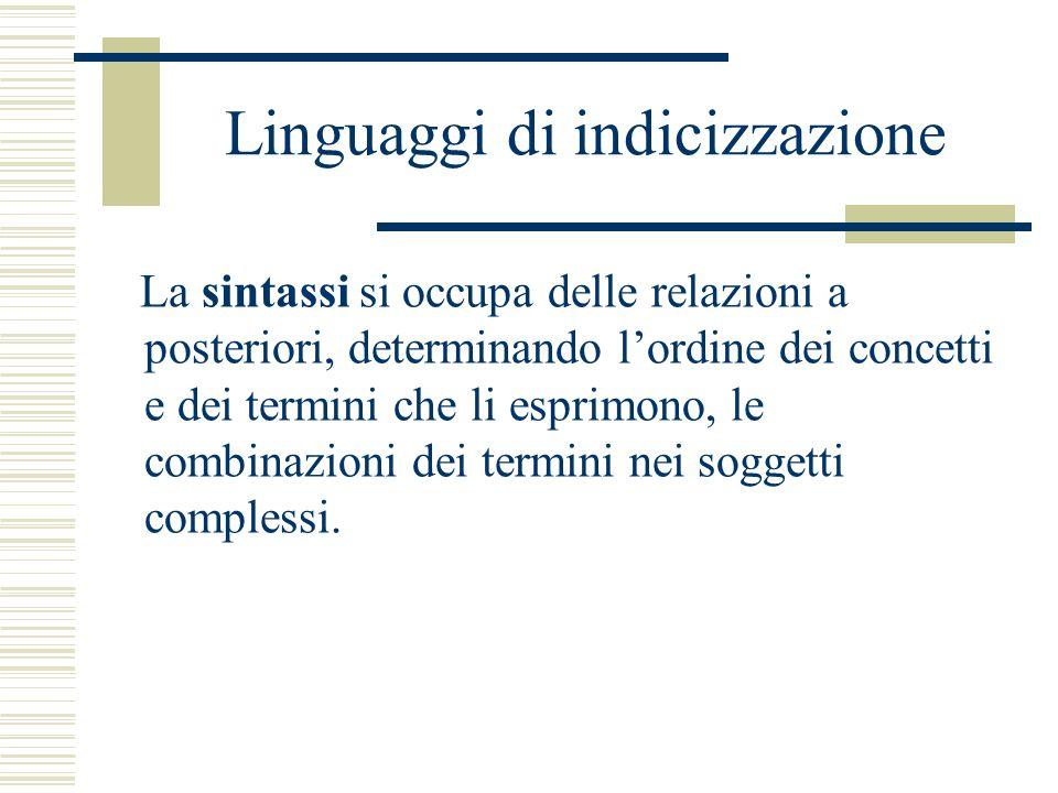 Linguaggi di indicizzazione La sintassi si occupa delle relazioni a posteriori, determinando l'ordine dei concetti e dei termini che li esprimono, le