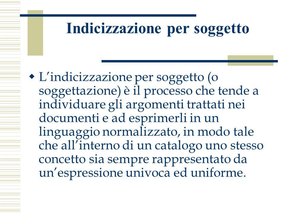 Indicizzazione per soggetto  L'indicizzazione per soggetto (o soggettazione) è il processo che tende a individuare gli argomenti trattati nei documen
