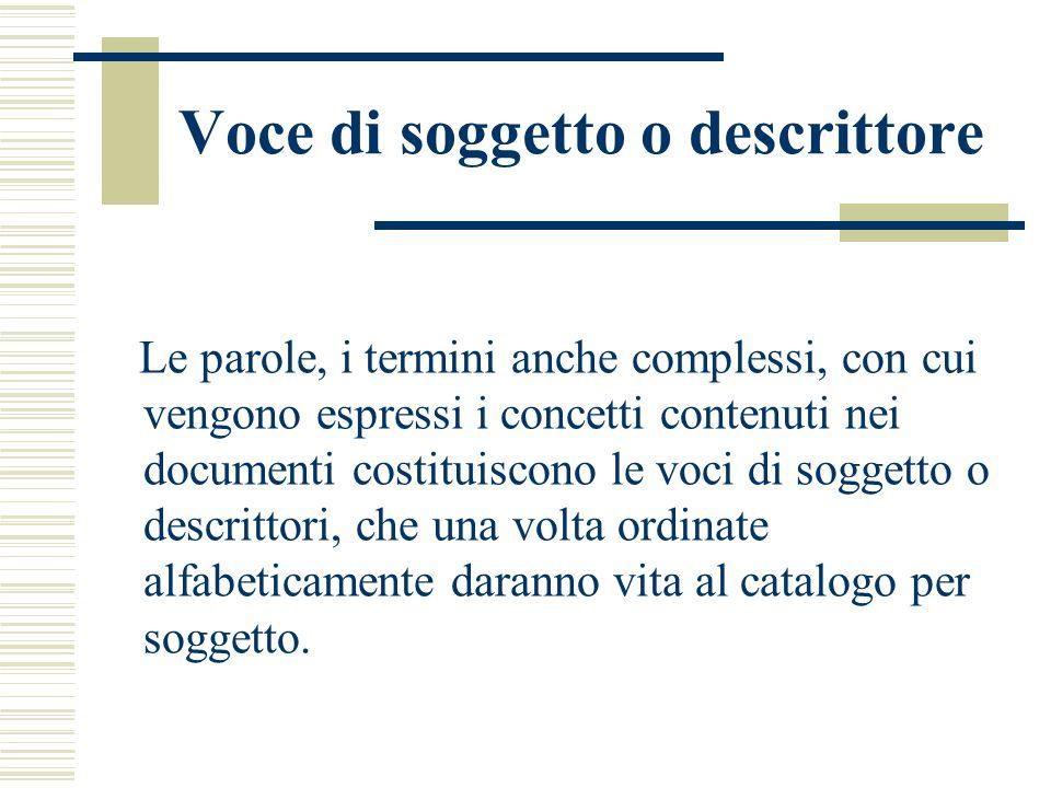 Voce di soggetto o descrittore Le parole, i termini anche complessi, con cui vengono espressi i concetti contenuti nei documenti costituiscono le voci