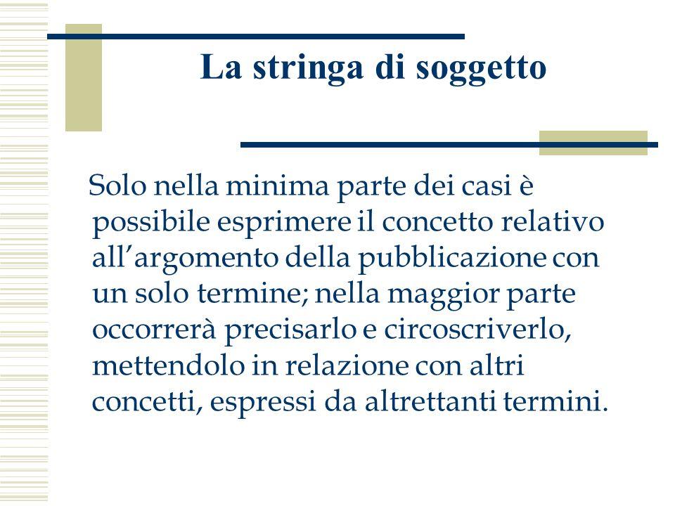 La stringa di soggetto Solo nella minima parte dei casi è possibile esprimere il concetto relativo all'argomento della pubblicazione con un solo termi