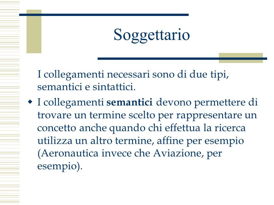 Soggettario I collegamenti necessari sono di due tipi, semantici e sintattici.  I collegamenti semantici devono permettere di trovare un termine scel
