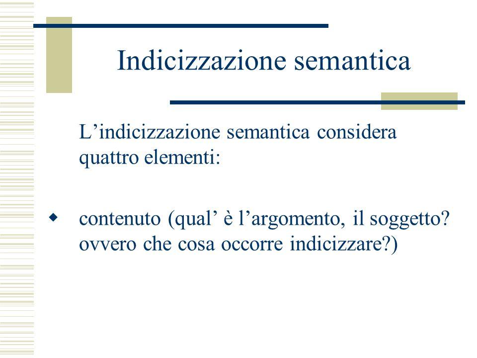 Indicizzazione semantica L'indicizzazione semantica considera quattro elementi:  contenuto (qual' è l'argomento, il soggetto.