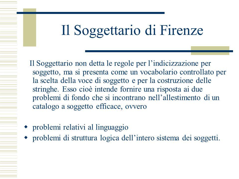 Il Soggettario di Firenze Il Soggettario non detta le regole per l'indicizzazione per soggetto, ma si presenta come un vocabolario controllato per la scelta della voce di soggetto e per la costruzione delle stringhe.