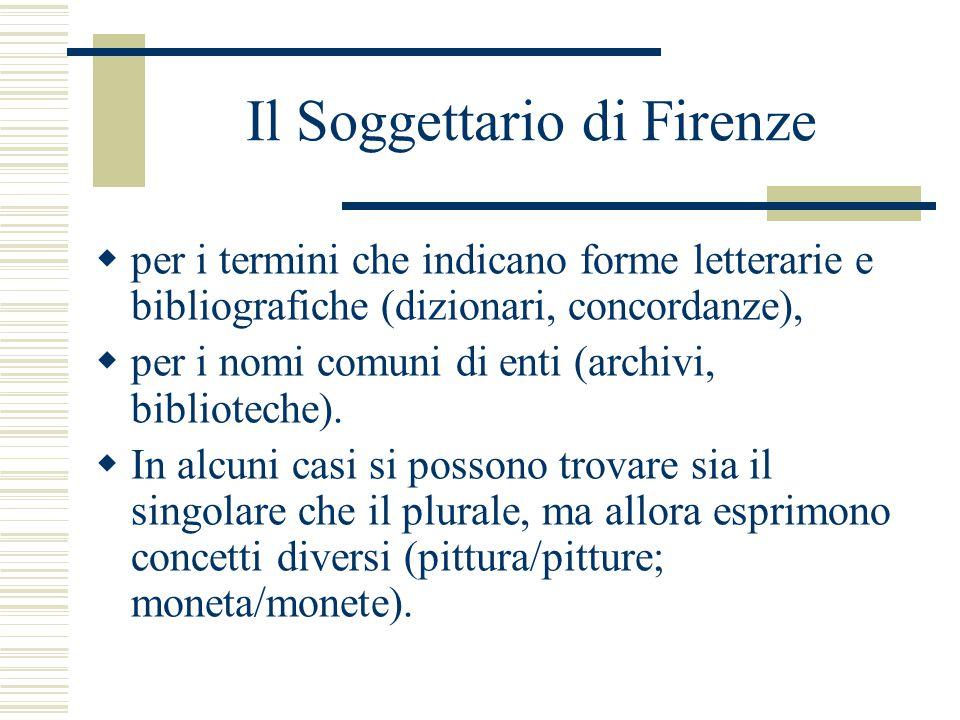 Il Soggettario di Firenze  per i termini che indicano forme letterarie e bibliografiche (dizionari, concordanze),  per i nomi comuni di enti (archivi, biblioteche).