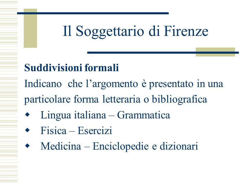 Il Soggettario di Firenze Suddivisioni formali Indicano che l'argomento è presentato in una particolare forma letteraria o bibliografica  Lingua italiana – Grammatica  Fisica – Esercizi  Medicina – Enciclopedie e dizionari