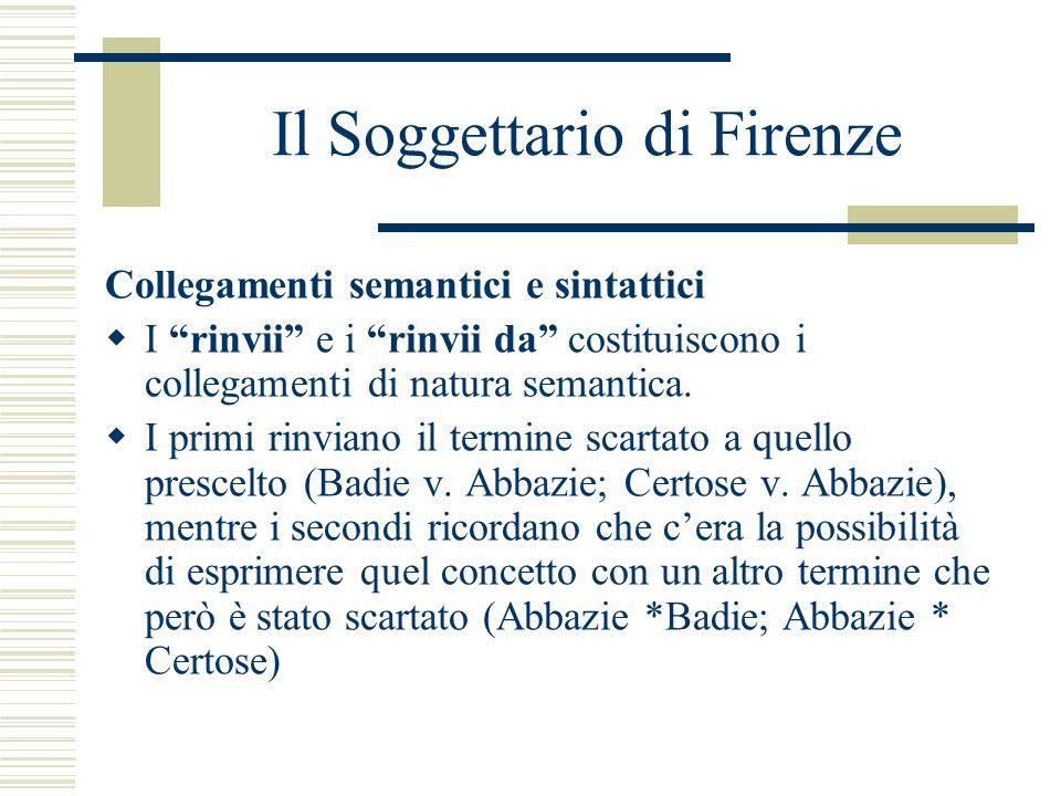 """Il Soggettario di Firenze Collegamenti semantici e sintattici  I """"rinvii"""" e i """"rinvii da"""" costituiscono i collegamenti di natura semantica.  I primi"""