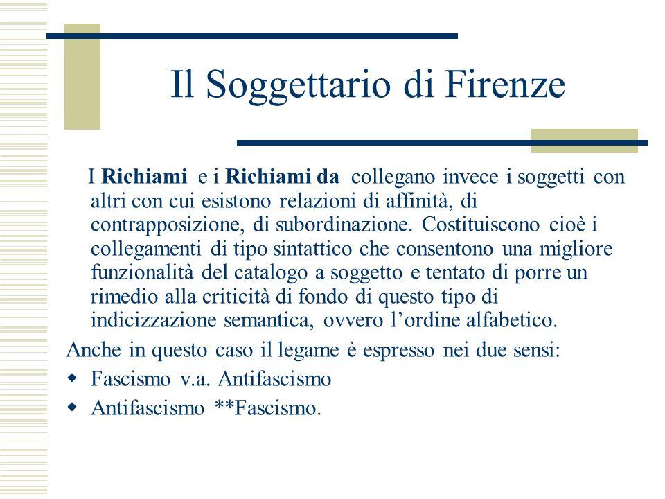 Il Soggettario di Firenze I Richiami e i Richiami da collegano invece i soggetti con altri con cui esistono relazioni di affinità, di contrapposizione, di subordinazione.