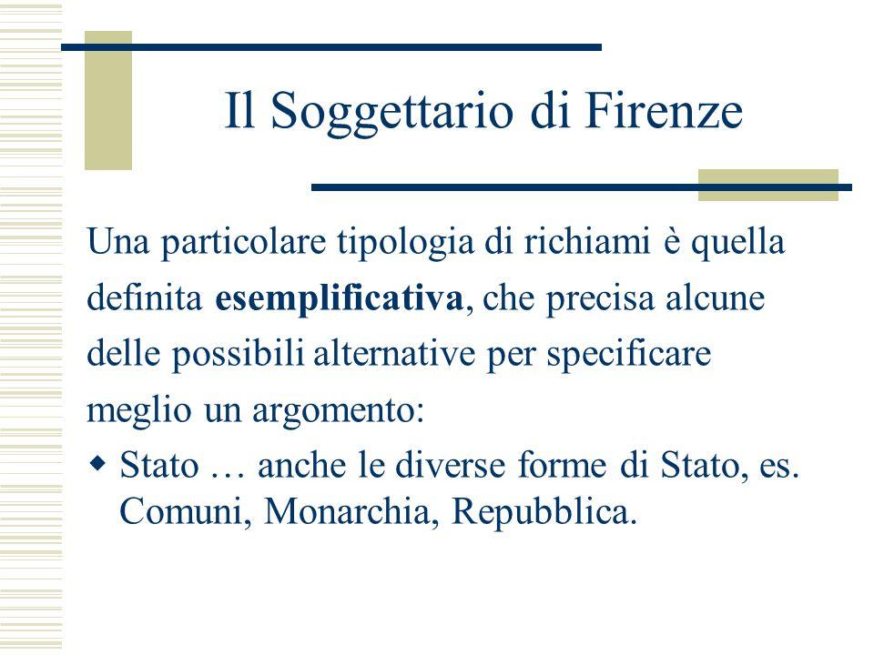 Il Soggettario di Firenze Una particolare tipologia di richiami è quella definita esemplificativa, che precisa alcune delle possibili alternative per
