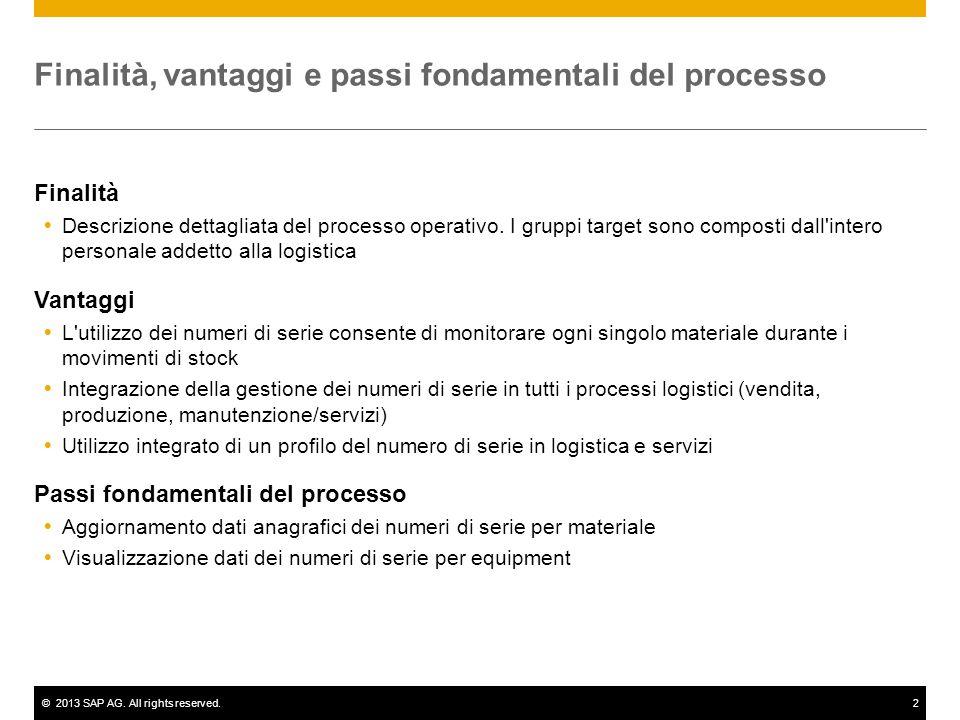 ©2013 SAP AG. All rights reserved.2 Finalità, vantaggi e passi fondamentali del processo Finalità  Descrizione dettagliata del processo operativo. I