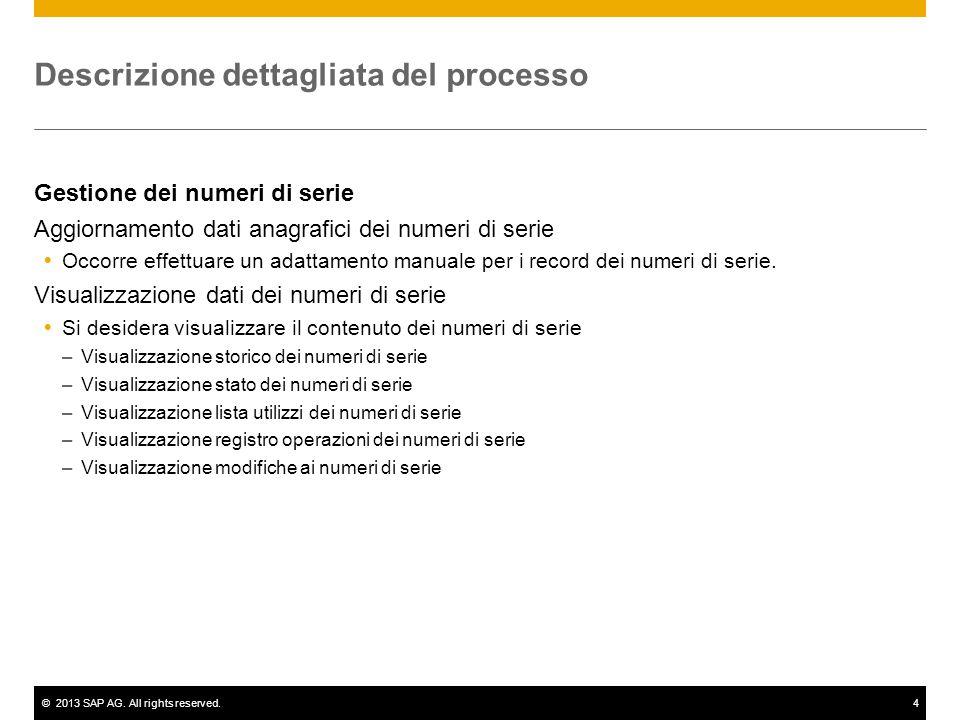 ©2013 SAP AG. All rights reserved.4 Descrizione dettagliata del processo Gestione dei numeri di serie Aggiornamento dati anagrafici dei numeri di seri