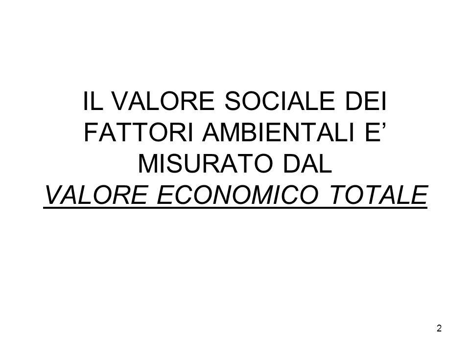 IL VALORE SOCIALE DEI FATTORI AMBIENTALI E' MISURATO DAL VALORE ECONOMICO TOTALE 2