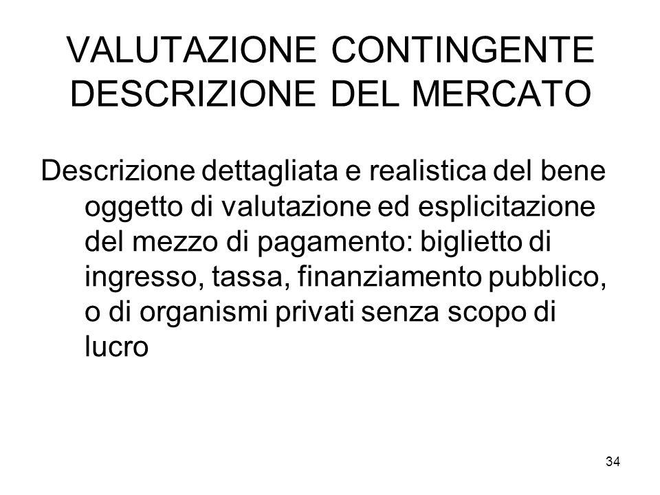 VALUTAZIONE CONTINGENTE DESCRIZIONE DEL MERCATO Descrizione dettagliata e realistica del bene oggetto di valutazione ed esplicitazione del mezzo di pa