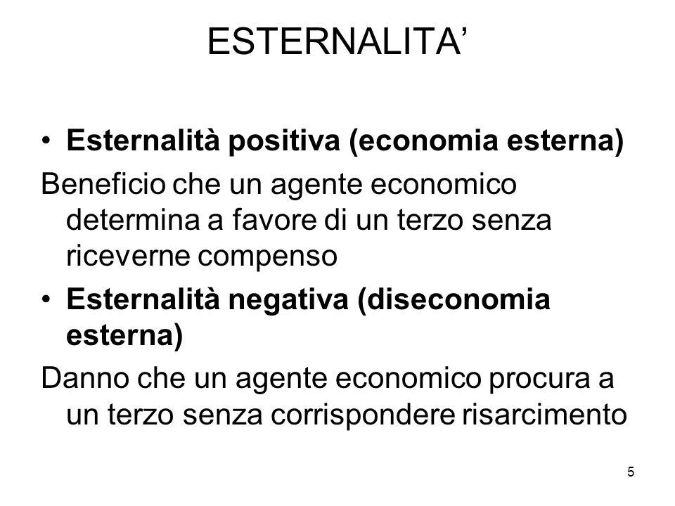 ESTERNALITA' Esternalità positiva (economia esterna) Beneficio che un agente economico determina a favore di un terzo senza riceverne compenso Esterna
