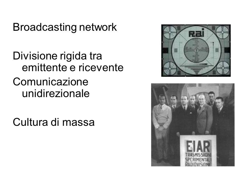 Broadcasting network Divisione rigida tra emittente e ricevente Comunicazione unidirezionale Cultura di massa