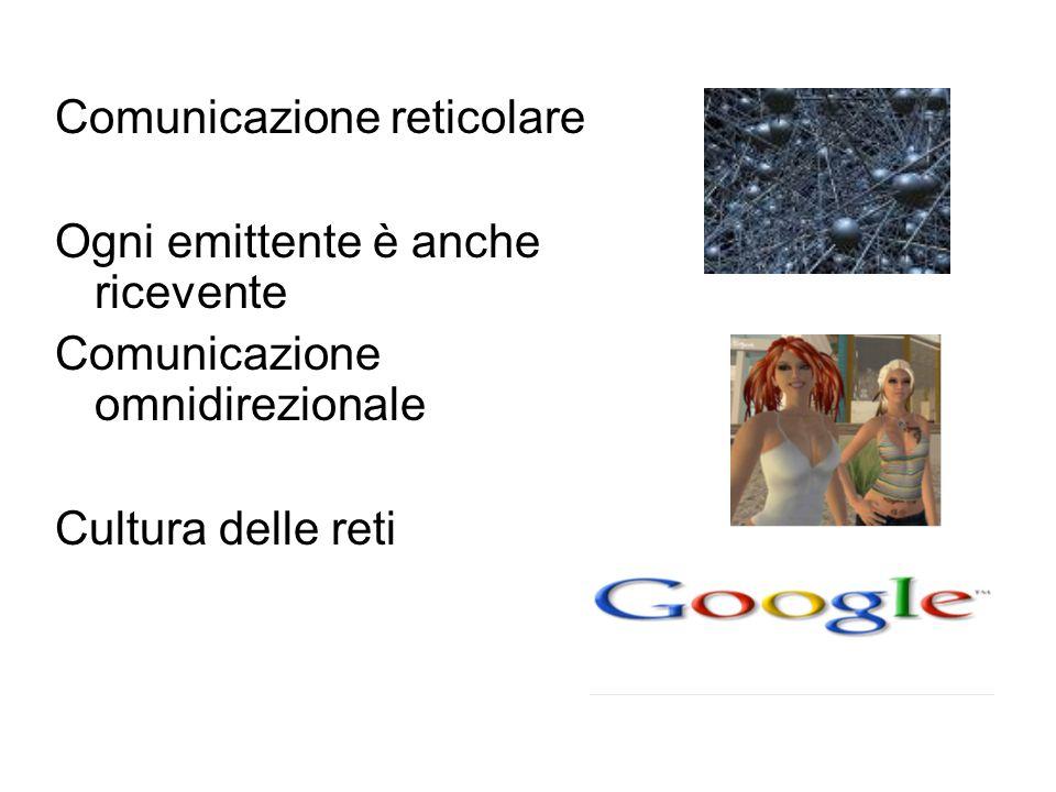 Comunicazione reticolare Ogni emittente è anche ricevente Comunicazione omnidirezionale Cultura delle reti