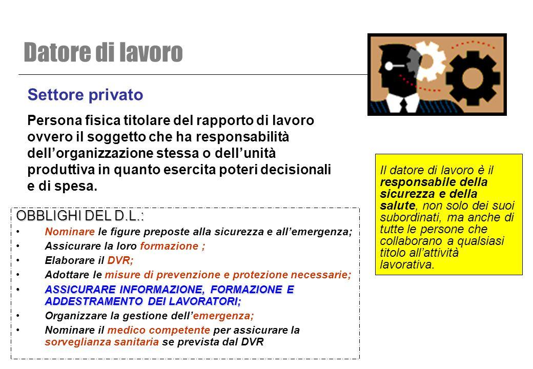 Settore privato Persona fisica titolare del rapporto di lavoro ovvero il soggetto che ha responsabilità dell'organizzazione stessa o dell'unità produt