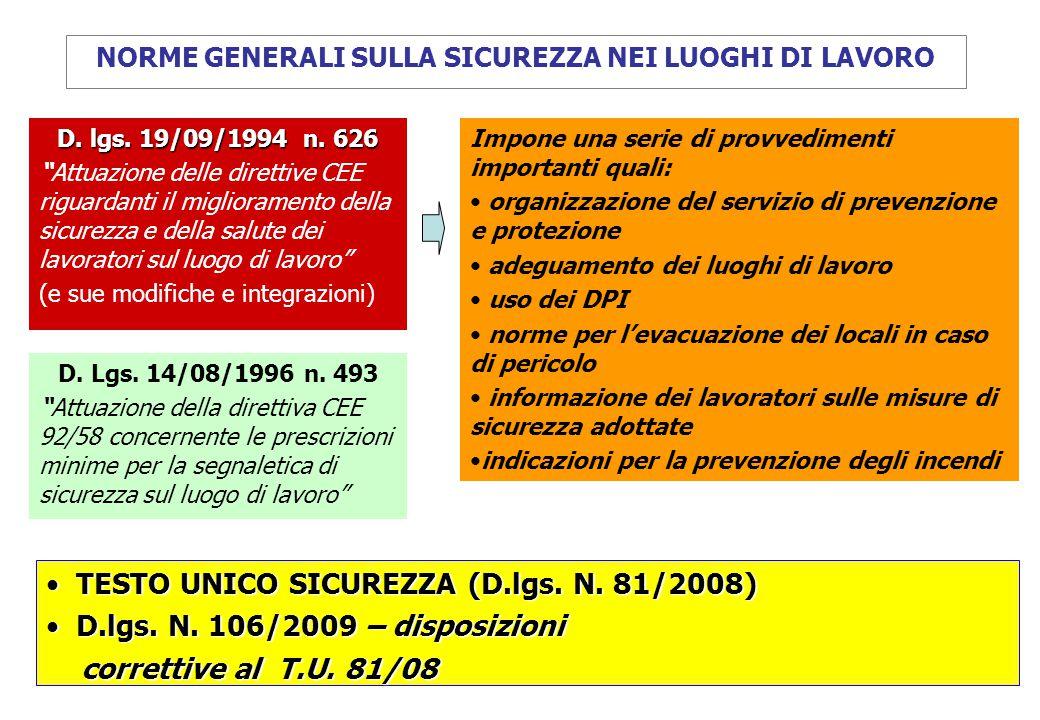 """D. lgs. 19/09/1994 n. 626 """"Attuazione delle direttive CEE riguardanti il miglioramento della sicurezza e della salute dei lavoratori sul luogo di lavo"""