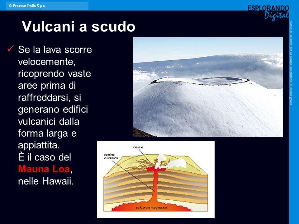 Vulcani a scudo Se la lava scorre velocemente, ricoprendo vaste aree prima di raffreddarsi, si generano edifici vulcanici dalla forma larga e appiatti